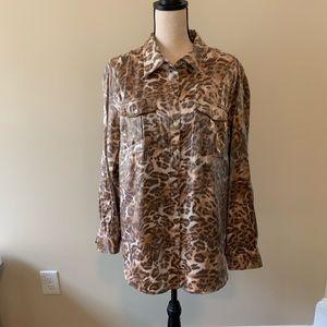 Ruby Road animal print button down blouse sz 16w